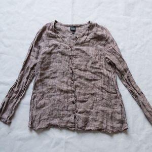 Eileen Fisher Brown Linen Button Thin Cardigan